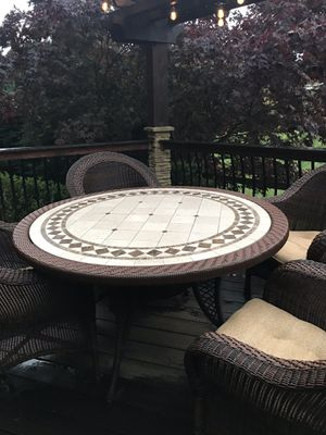 Patio furniture Tile table and 4 wicker chairs for Sale in Sammamish, WA