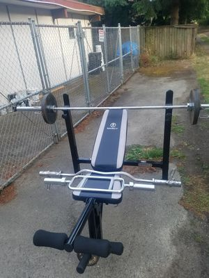 Olympic weights set with barbells for Sale in Burien, WA