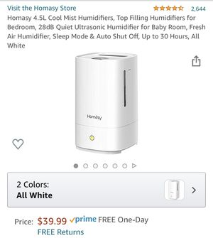 Homasy 4.5L Cool Mist Humidifiers for Sale in Los Angeles, CA