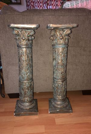 Painted Patina (looking) Pedestals/ pillars/ plant stand 29 inches tall 8inch x 8inch top for Sale in Plantation, FL