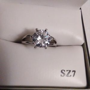 Size 7 Diamond Quality White Sapphire 925 Sterling Engagement Ring for Sale in Lombard, IL