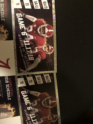 Two Alabama football tickets for this weeks game $25 for both for Sale in Hoover, AL