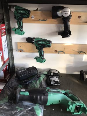 Hitachi 4-Tool 18-Volt Power Tool Combo Kit with Soft Case (Charger Included and 2-Batteries Included) for Sale in Temple City, CA