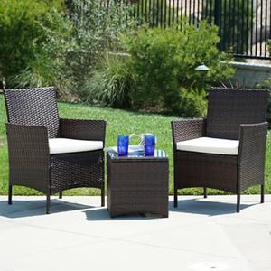 SHIPPING ONLY 3 Piece Outdoor Patio Garden Furniture Set w/Chairs Cushions and Table for Sale in Las Vegas, NV