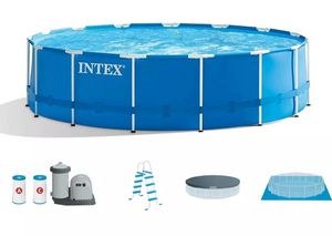Intex 18ft x 48in Prism Metal Frame Above Ground Swimming Pool w/ Pump for Sale in Bristol, CT