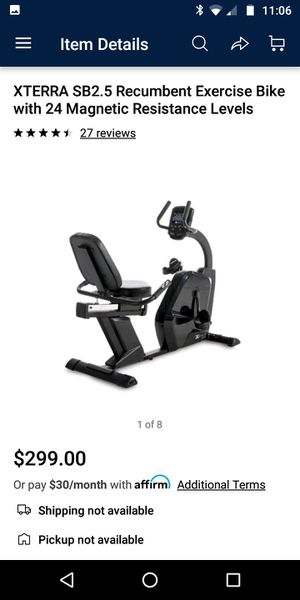 XTERRA SB2.5 Recumbent Exercise Bike with 24 Magnetic Resistance Levels for Sale in Houston, TX