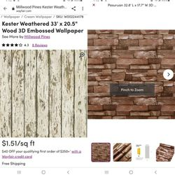 Embossed Peel And Stick Shiplap Wood And Stone Wallpaper From Wayfair for Sale in Miami,  FL