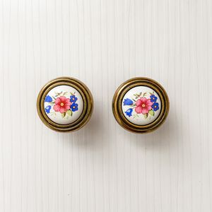 Vintage Ceramic and Brass Floral Drawer Pulls- A Pair for Sale in Fort Lauderdale, FL