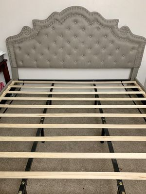King Bed frame with upholstery headboard used 11 months for Sale in Tigard, OR