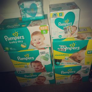 Pampers swaddlers And pampers baby dry size 1 2 3 4 and wipes for Sale in Middle River, MD