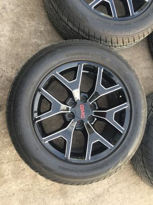 "20"" Chevy / GMC black rims and Tires ! 6 Lug milled Wheels will fit Chevrolet Silverado Tahoe Avalanche GMC Sierra Yukon suburban Denali Cadillac Esc for Sale in Dallas, TX"