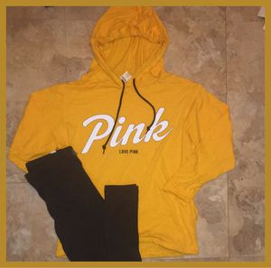 Large Victoria's secret golden yellow hoody top set for Sale in Chicago, IL