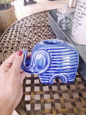 Elephant candle holder and blue flower bouquet for Sale in Norwalk, CA