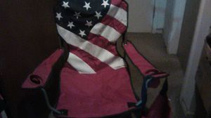 Portable chair with cupholder great for the holiday has a carrying case bag, American flag chair for Sale in Columbus, OH