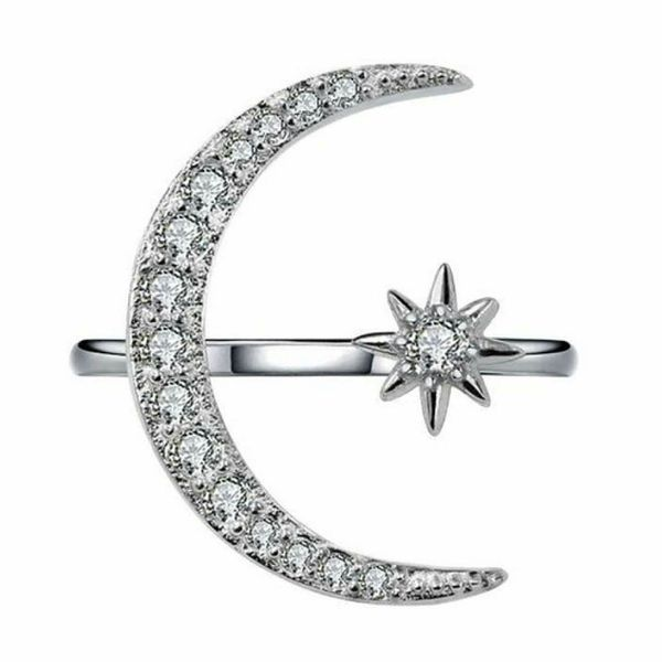 925 Sterling Silver Crescent Moon & Star CZ Ring