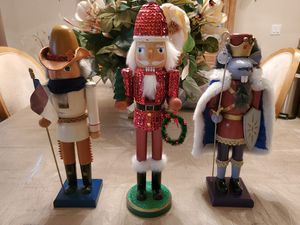 3- Large Nutcracker Soldiers, 1 - Mouse, 1 - Santa, 1- Cowboy. approx. 16 inches high. Quality wood Holiday Decorations for Sale in Pine Ridge, FL