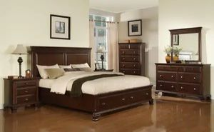 """BRAND NEW...50% of online pricing...Beautiful """"NEW"""" Cherry Queen Storage 5PC Bedroom Set includes Sealy Posturepedic mattress for Sale in Boca Raton, FL"""