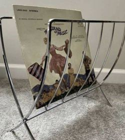 Vintage Mid Century MCM Minimalist Chrome Folding Record Magazine Rack for Sale in Chapel Hill, NC