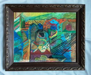 A Vintage Abstract Expressionist Mixed Media Landscape by Artist Corinne Oldfield for Sale in Tacoma, WA