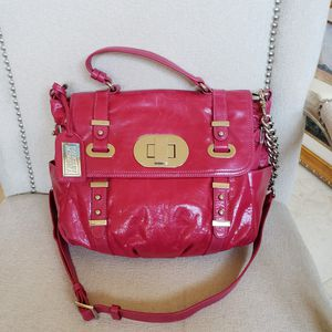 BADGLEY MISCHKA LARGE SHOULDER BAG CROSSBODY HANDBAG LEATHER PINK FUCHSIA SILVER for Sale in Barrington, IL