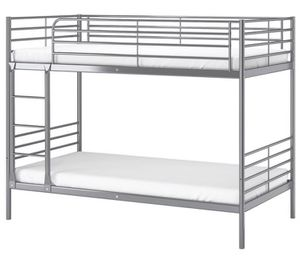 SVARTA IKEA BUNK BED (metallic) WITH FOAM MATTRESSES for Sale in Lincolnia, VA