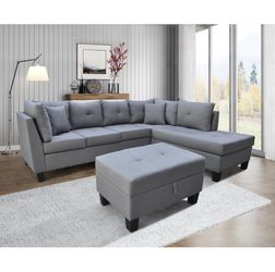LIGHT GREY Linen Sectional Sofa LEFT Hand Facing for Sale in Pomona,  CA