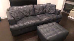 FREE leather navy couch with large matching ottoman for Sale in White Plains, NY