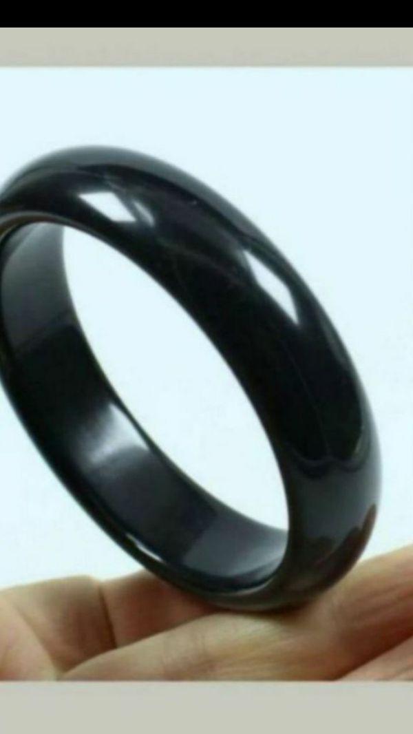Shipping only!Fengshui 60mm Certified Grade Natural Black Jade Gems Bangle