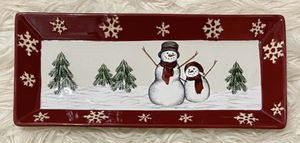 """St. Nicholas Square Yuletide 13.5"""" Treat Tray Cookie Platter Snowman Christmas Trees for Sale in Chapel Hill, NC"""