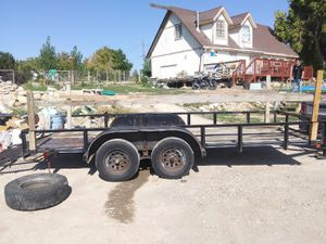 16' double axle trai I er $1200 or trade for car or truck for Sale in Salt Lake City, UT