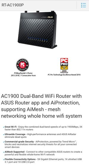 Asus ac1900p Router for Sale in North Olmsted, OH