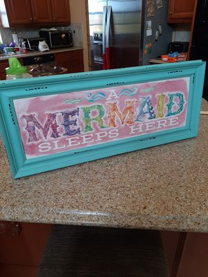 NEW Hobby Lobby Children's 27 x 11 Distressed Shabby Chic Teal Blue MERMAID SIGN Home décor for Sale in Orlando, FL