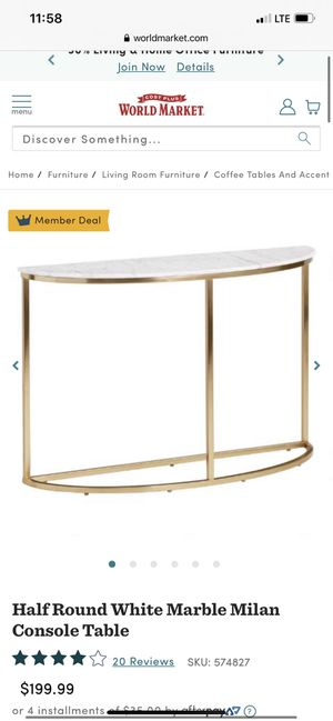 Half Round White Marble Milan Console Table for Sale in Yorba Linda, CA