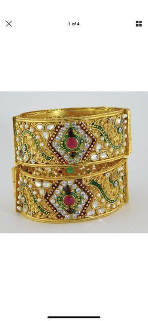 Indian Jewelry Gold Plated Bridal Bangle Set Bollywood Ethnic Bracelet szie 2.6 for Sale in Woodbridge, VA