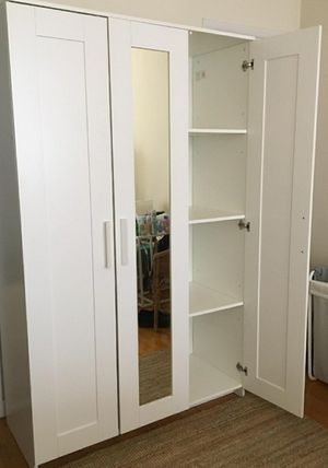 EXCELLENT CONDITION Ike 3 Door Mirrored Mirror Closet Armoire Wardrobe Cabinet Unit Stand + 1 Clothes Rod + Shelves INCLUDED for Sale in Monterey Park, CA