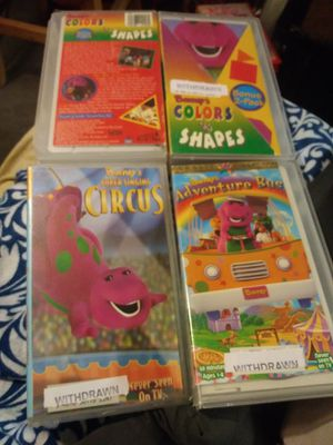 BARNEY PURPLE DINOSAUR LOT OF 3 VHS: Color & Shape, Adventure Bus & Circus RARE for Sale in Pahrump, NV