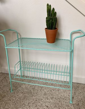 • vintage mid century mcm teal turquoise record rack • for Sale in Issaquah, WA