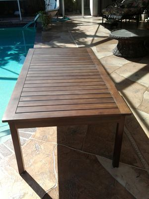 Outdoor furniture wood table pool deck patio or porch Target Item # 009-17-5138 6ft x 3ft x 18in tall coffee table for Sale in Coconut Creek, FL