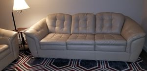 OFF WHITE 100% REAL LEATHER COUCH AND LOVE SEAT for Sale in San Antonio, TX