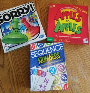 3 Family board games ( SORRY/ Apples to Apples/SEQUENCE numbers) Lots of Fun for the entire family. Been in storage for years. Virus FREE for Sale in Anaheim, CA