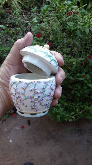 Floral ceramic container with lid great for jewelry for Sale in Fort Lauderdale, FL