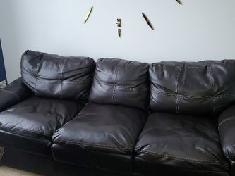 Brown Faux Leather Couch Pickup Only for Sale in Edgewood,  MD