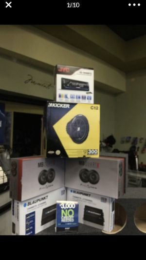 """Car audio complete system Bluetooth stereo usb aux cd. Am fm with kicker 12"""" subwoofer 1500w amplifier 4 speakers and 1500w 4 channel amp finance for Sale in Fremont, CA"""