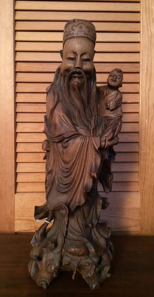 Hand carved antique Confucius statue for Sale in Waimea, HI
