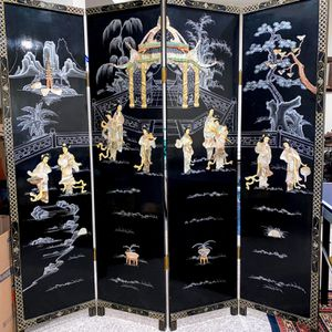 Antique Chinese Folding Panel Screen Made with Mother of Pearl/Jade for Sale in Columbia, MD