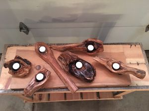 Hand crafted wood candle holders for Sale in Grayslake, IL