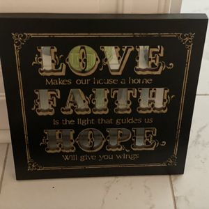 "Love faith hope 12"". Mirrored board for Sale in Doraville, GA"