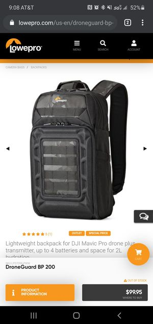 Lowepro droneguard bp 200 camera drone bag for Sale in Biscayne Park, FL