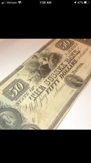 RARE 1850's Uncirculated and Unsigned $50 Sussex Bank Bill- Perfect Choice Brilliant Uncirculated Condition for Sale in Reston, VA