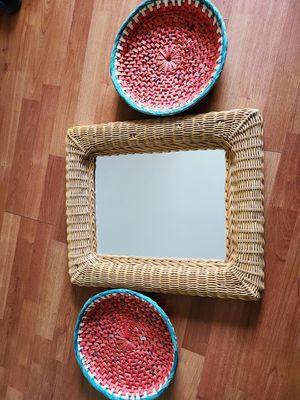 Wicker mirror & wall baskets for Sale in San Diego, CA